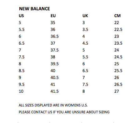 New Balance Womens Size Guide