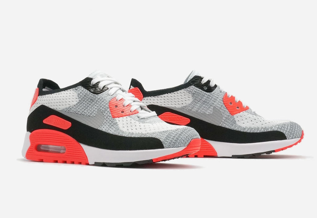 brand new 30e6b a3590 Nike Womens Air Max 90 Ultra 2.0 Flyknit InfraredWhiteWolf Grey