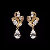 Vintage Floral Cubic Zirconia Drop Bridal Earrings, Wedding Earrings, Bride, Bridesmaids