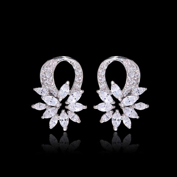 Exquisite Petite Flower Cubic Zirconia Bridal Earrings, Studs Wedding Earrings