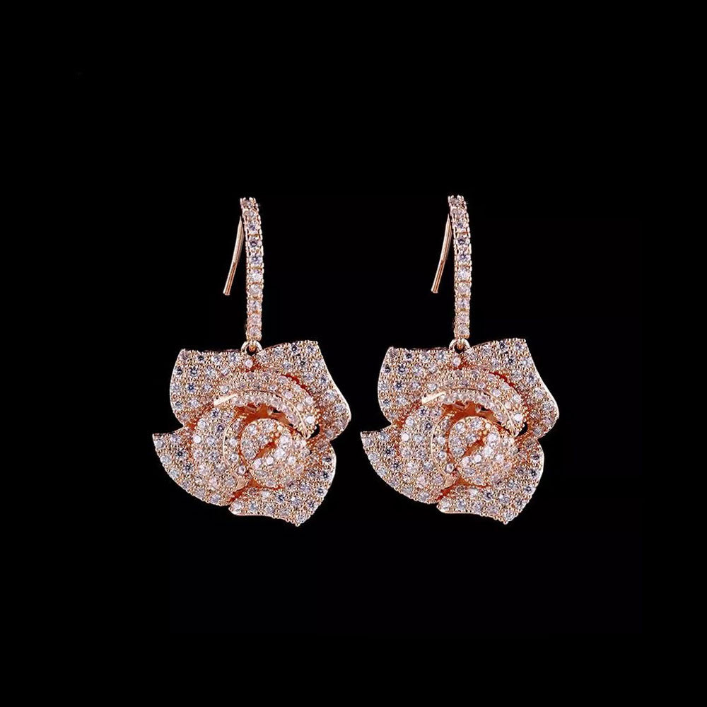 Rose Gold Rose Micro Paved Drop Bridal Earrings, Wedding Earrings