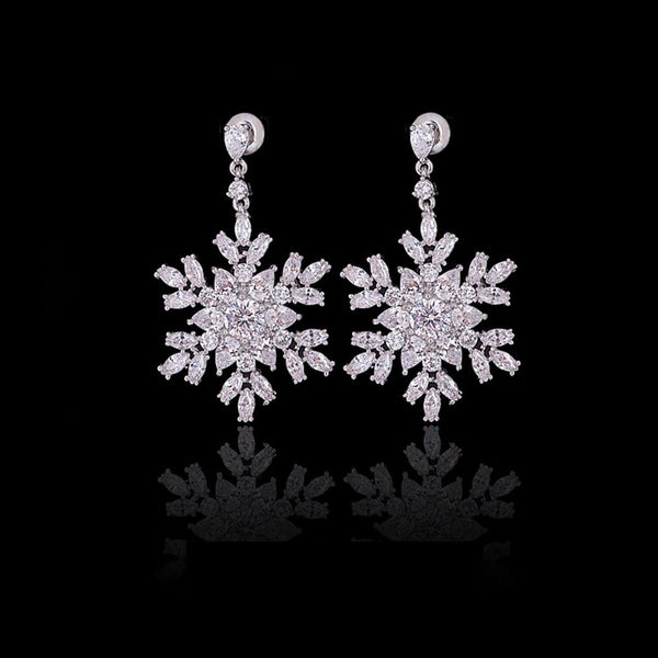 Snowflake AAA Cubic Zirconia Bridal Earrings, Wedding Earrings