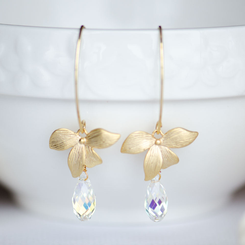 Bridesmaids Earrings with Gold Orchid and Swarovski Teardrop Shape Elements sold at bulk price