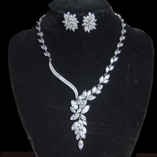 Leaf Crystal Bridal jewellery set, AAA cubic zirconia, necklace and earrings, bride,  bridesmaids