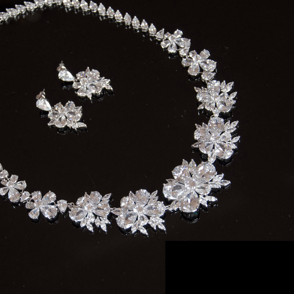Statement Cubic Zirconia Bridal Jewellery Set, necklace and earrings, Bride, Bridesmaids