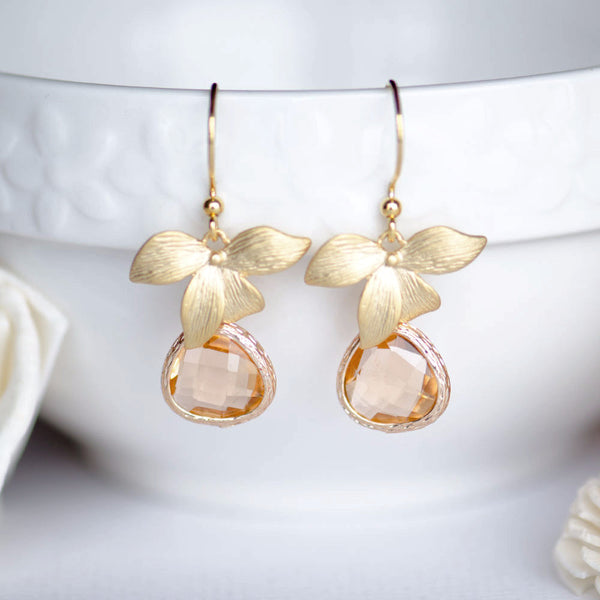 Wholesale Gold Orchid Pink Bridesmaids Earrings at Low Price