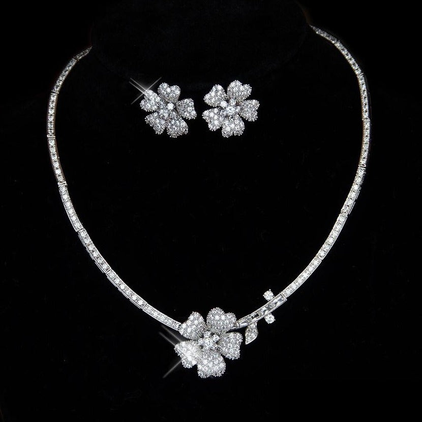 Modern Floral Bridal Jewellery Set Micro Paved Necklace And