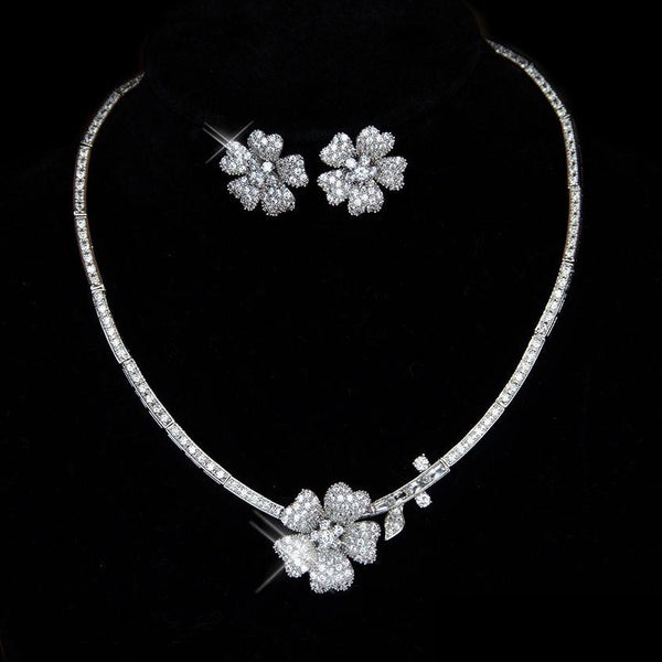 Modern Floral Bridal jewellery set, micro-paved necklace and earrings, wedding jewelry
