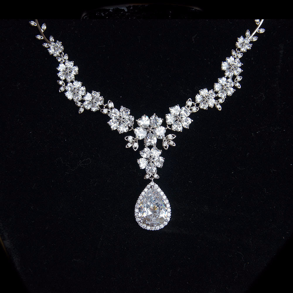 Floral Bridal Jewellery Set Cubic Zirconia Necklace And Earrings