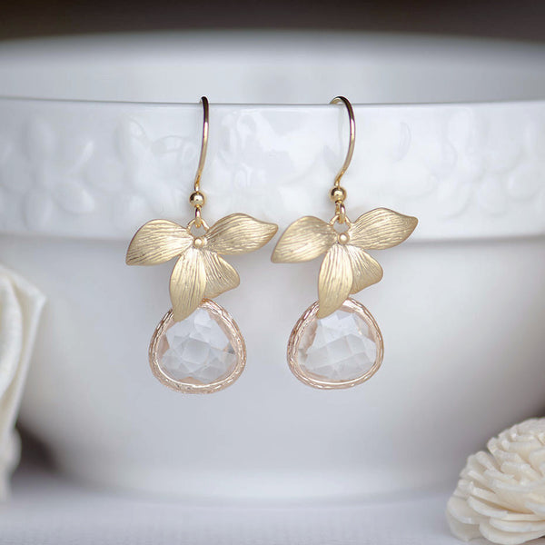 Wholesale Gold Orchid Clear Bridesmaids Earrings at Low Price