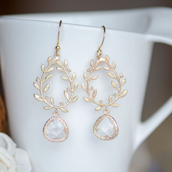 Wholesale Gold Olive Wreath Clear Bridesmaids Earrings at Low Price