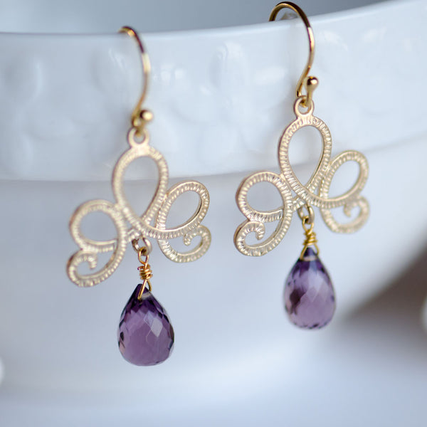 Amethyst Gemstone Teardrop Gold Bridal Earrings