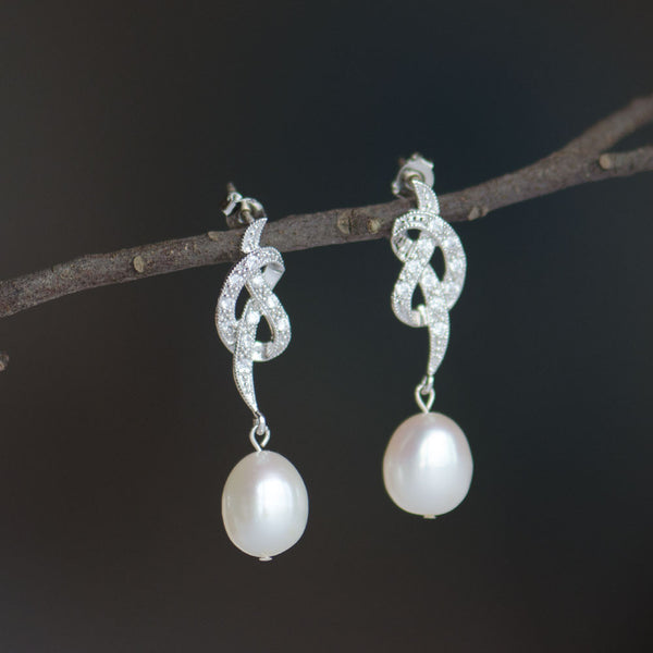 Freshwater Pearl on Cubic Zirconia Love Knot Drop Earrings, Bridal Earrings