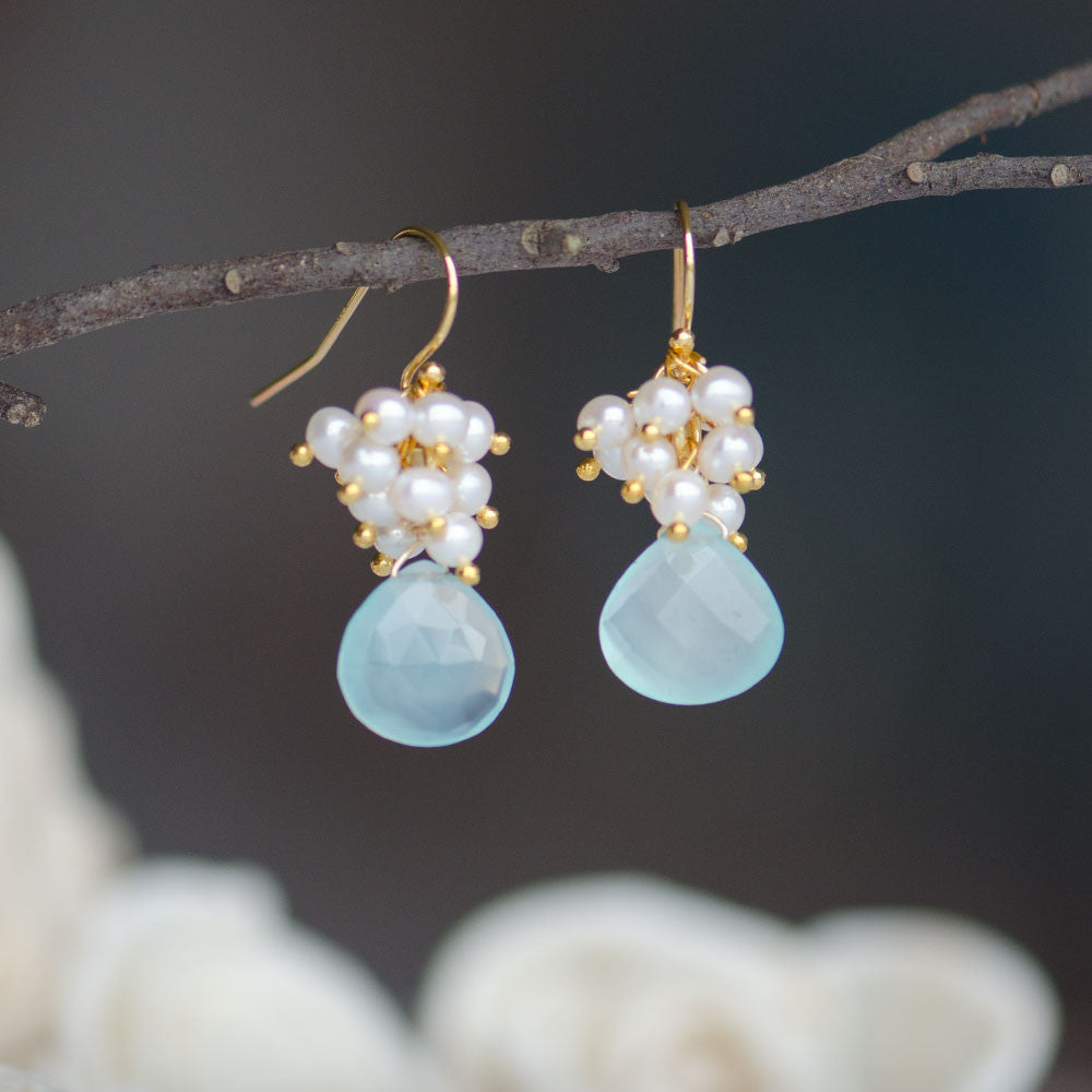 Aqua Blue Calcedony Freshwater Pearl Cluster Gold Gemstone Earrings