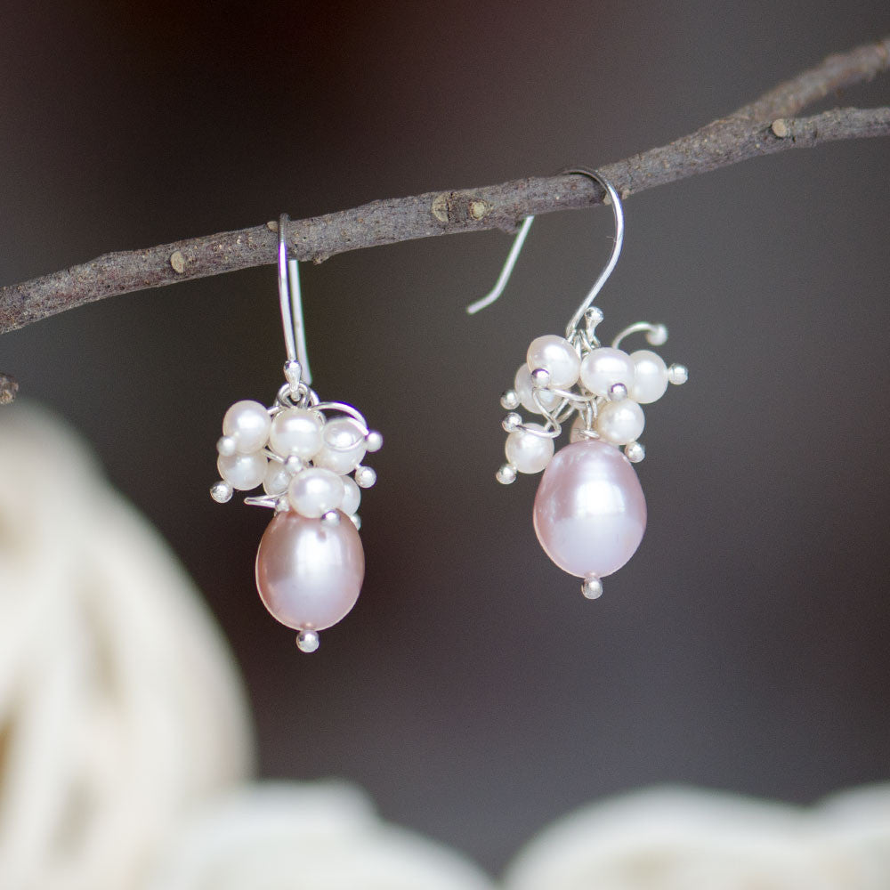 High Luster Lavender Freshwater Pearl Cluster Drop Earrings, Sterling Silver Posts