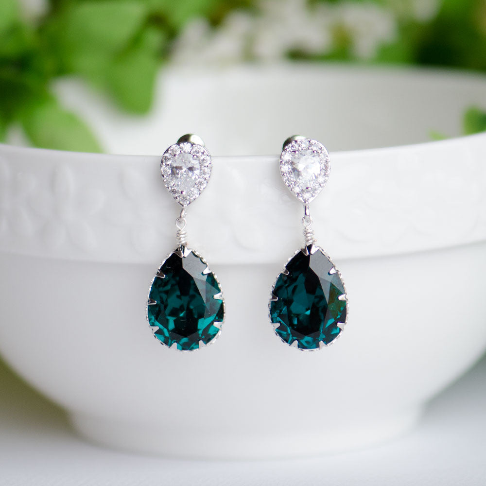Emerald Swarovski Pear Shape Crystal on Cubic Zirconia Bridal Earrings