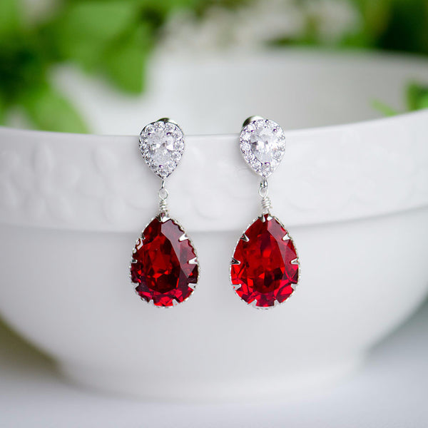 Siam Deep Red Swarovski Pear Shape Crystal on Cubic Zirconia Bridal Earrings