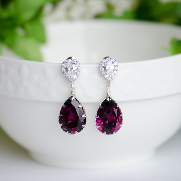Amethyst Swarovski Elements Pear Shape on Cubic Zirconia Bridal Earrings, Handmade Earrings