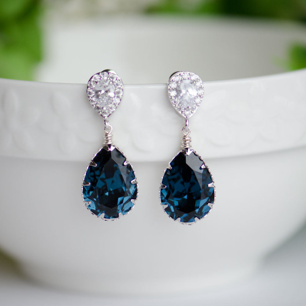 Montana Blue Swarovski Pear Shape Crystal on Cubic Zirconia Bridal Earrings