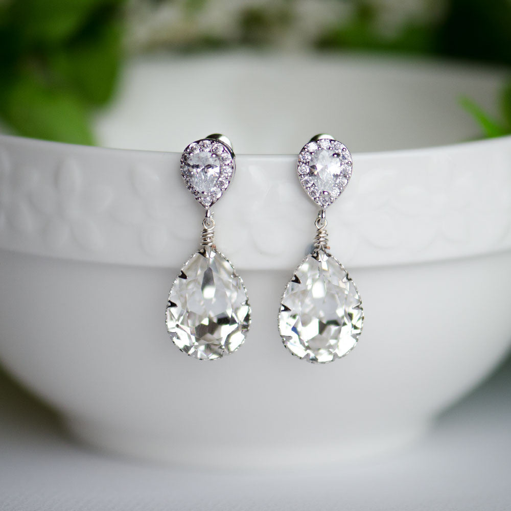 Clear Swarovski Pear Shape Crystal on Zirconia Cubic Bridal Earrings