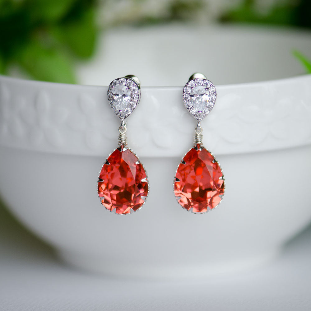 Red Sapphire Swarovski Pear Shape Crystal on Cubic Zirconia Bridal Earrings