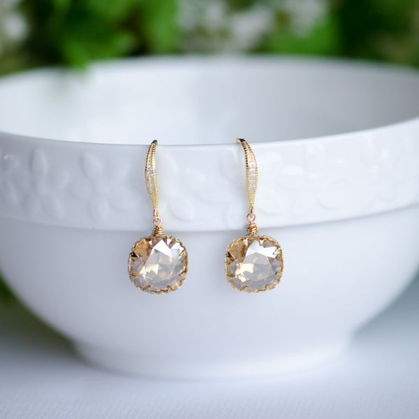 Golden Shadow Swarovski Cushion Shape Crystals on Sterling Silver Earrings, handmade bridal earrings