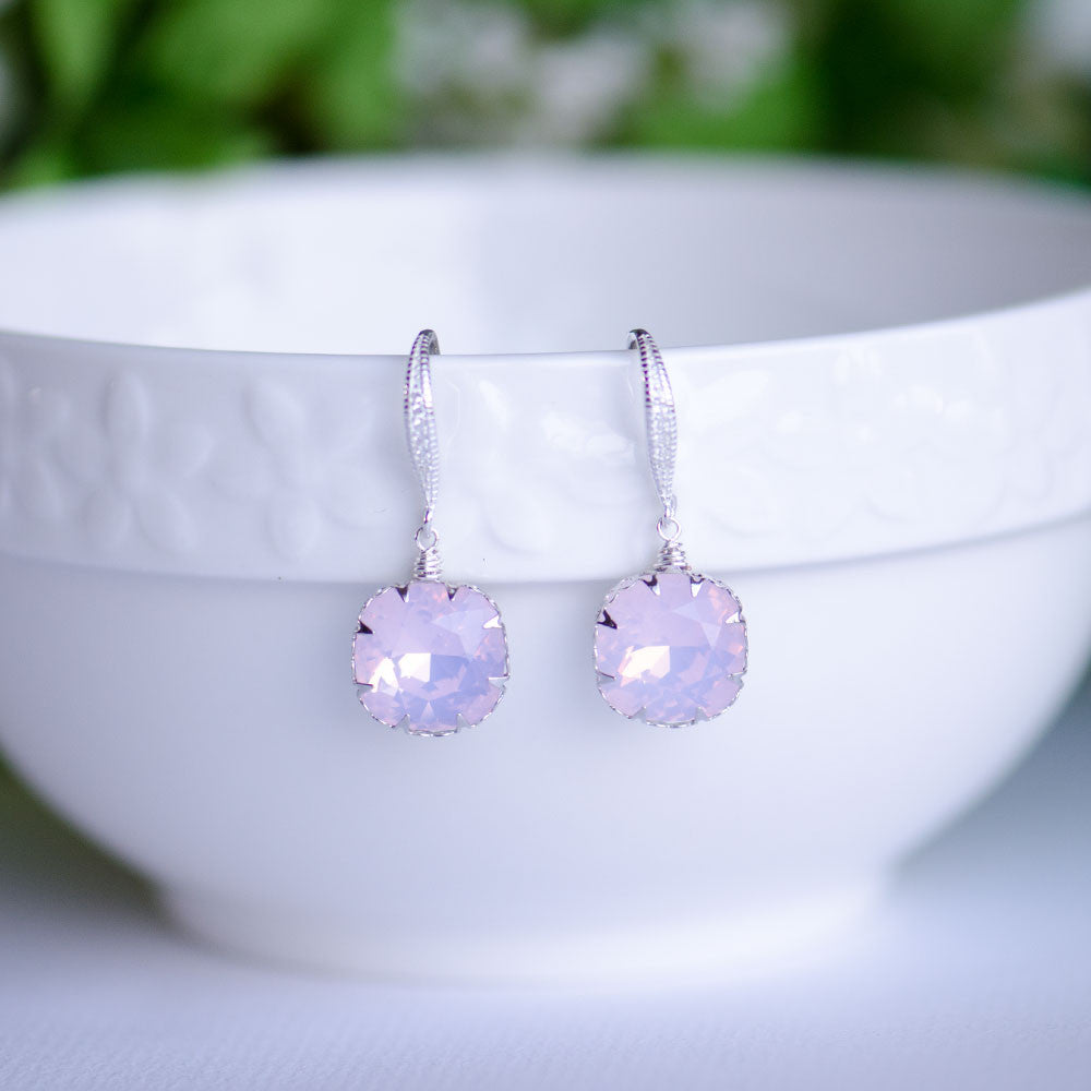 Pink Opal Swarovski Cushion Shape Crystal Earrings on Sterling Silver Bridal Earrings