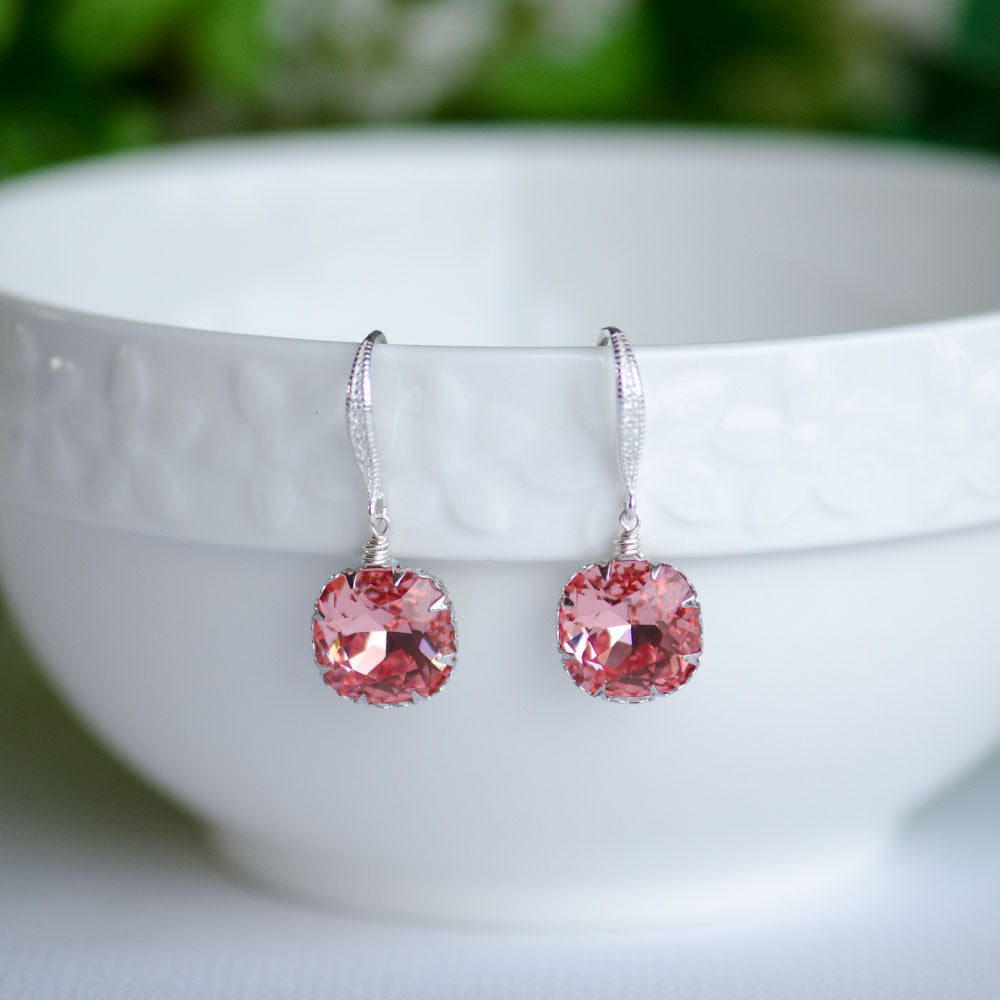 Rose Peach Swarovski Cushion Shape Crystal on Sterling Silver Bridal Earrings