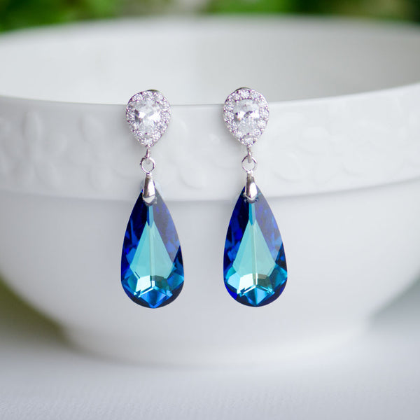 Bermuda Blue Swarovski Teardrop Crystal on Cubic Zirconia Bridal Earrings