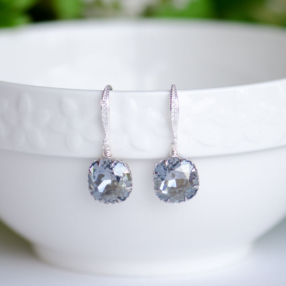 Blue Shade Swarovski Cushion Shape Earrings on Cubic Zirconia Sterling Silver Bridal Earrings