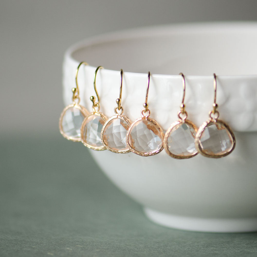 Bulk Offer Clear Bridesmaids Earrings with Gold Frame at Low Price