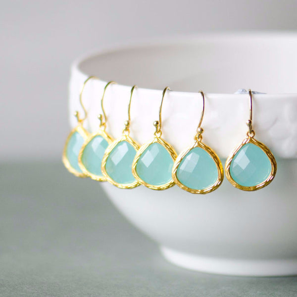 5 Pairs Aqua Blue Crystal Gold Drop Earrings, Sterling Silver earwires