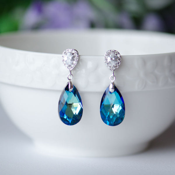 Bermuda Blue Swarovski Pear Shape Crystal on Cubic Zirconia Bridal Earrings