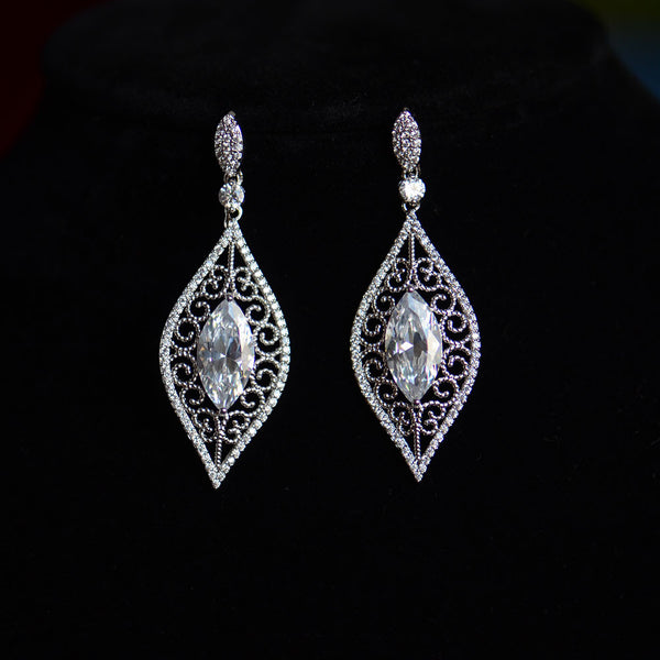 Leaf Shape Vintage Micro-paved Bridal Earrings, Cubic Zirconia Wedding Earrings