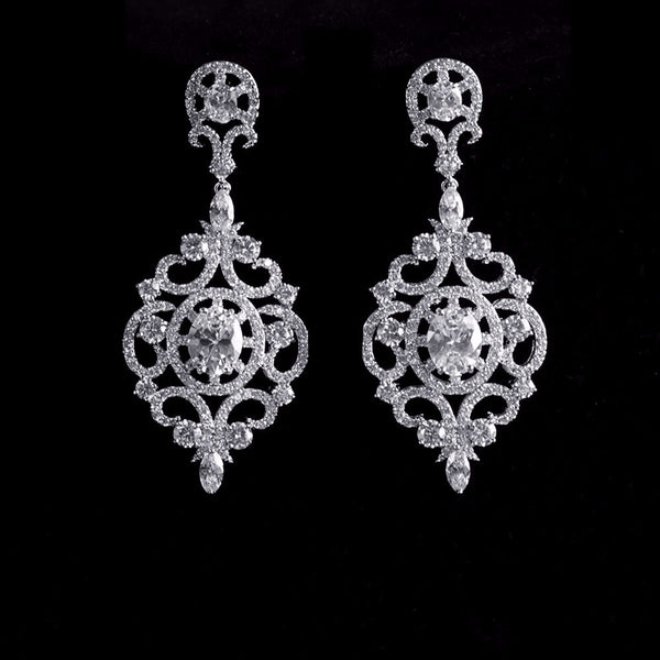 Vintage Classic Chandelier Micro-paved Bridal earrings, Cubic Zirconia Wedding Earrings
