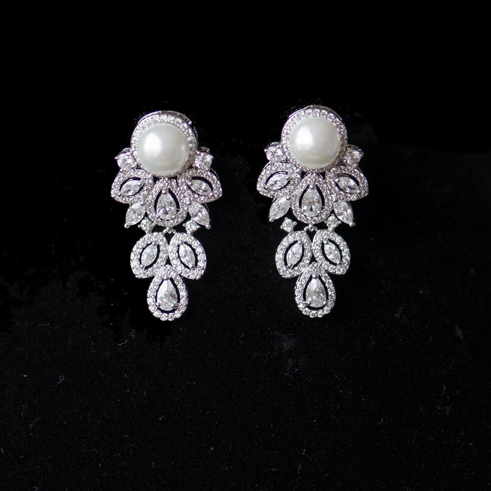 Pearl Floral Micropaved Cubic Zirconia Bridal Earrings, Studs Wedding Earrings