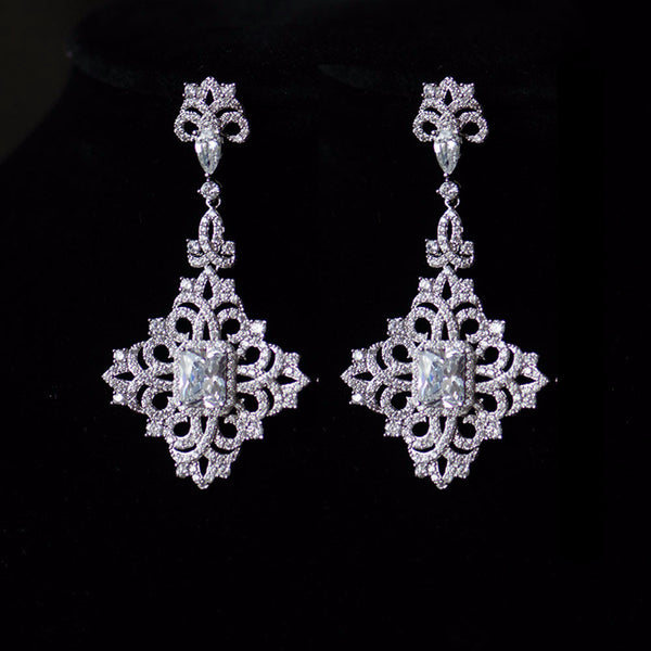 Gothic Diamond Shape Micro-Paved Chandelier Bridal Earrings