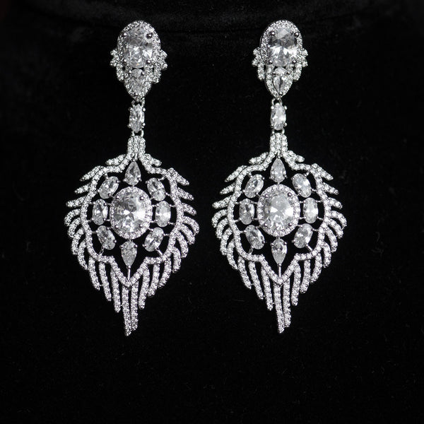 Vintage Art Deco Chandelier Micro-Paved Bridal Earrings