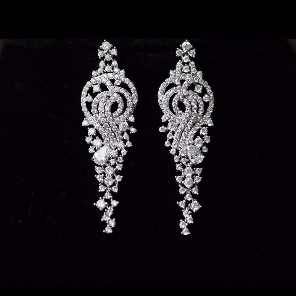 Bridal earrings warehouse gardenia micro paved chandelier elegant gardenia floral cubic zirconia micro paved bridal earrings crystal earrings arubaitofo Image collections