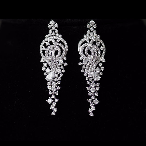 Elegant Gardenia Floral Cubic Zirconia Micro-paved Bridal Earrings, Crystal Earrings