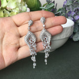 Celebrity Chandelier Micro-Paved Earrings, Cubic Zirconia Bridal Earrings