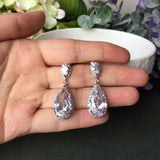Classic Teardrop Clear Cubic Zirconia Crystal Bridal Earrings