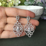Art Nouveau Cubic Zirconia Micro-paved Chandelier Bridal Earrings