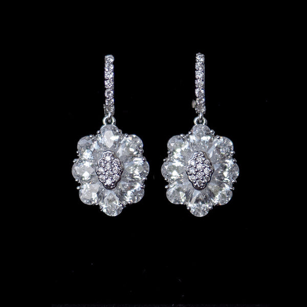 Cubic Zirconia Flower Drop Earrings, Leverback Bridal Earrings