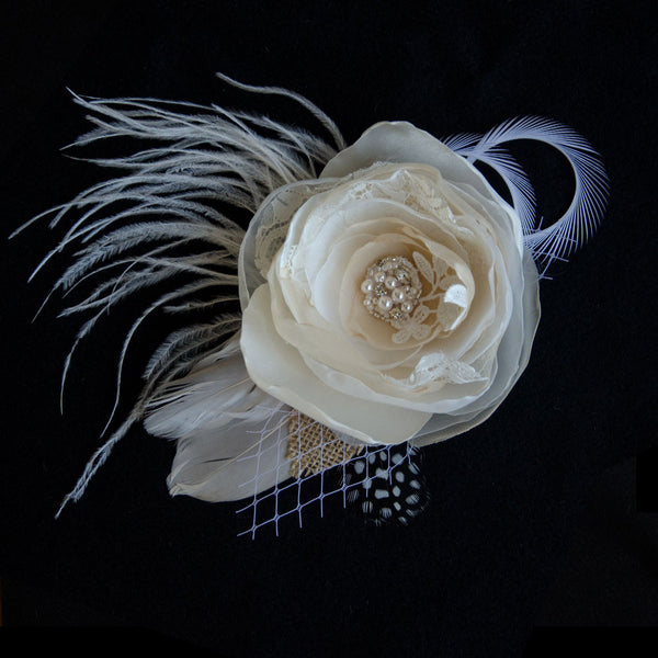 Beige Fabric Feather Fascinator with Swarovski Elements, Fabric Hair Flower