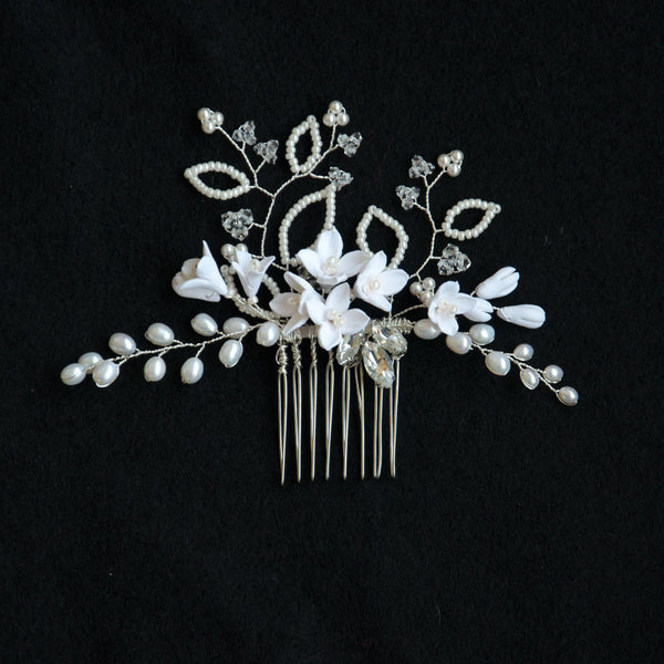 Porcelain Lilies Freshwater Pearls Swarovski Elements Handmade Bridal Headpiece
