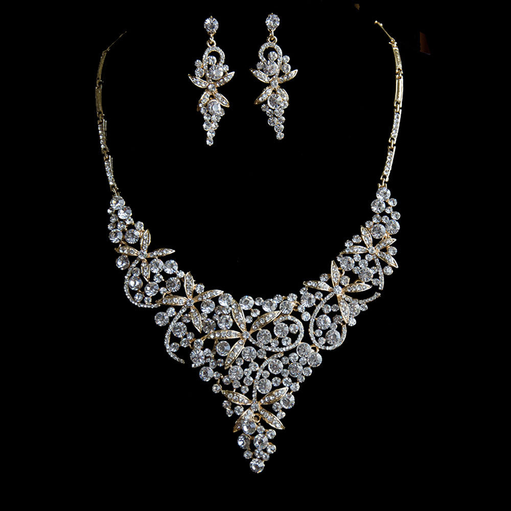 Gold Exquisite Floral Rhinestones Bridal Jewelry Set, Statement Jewelry Set