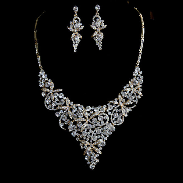 Gold Exquisite Floral Rhinestones Bridal Jewelry Set Statement