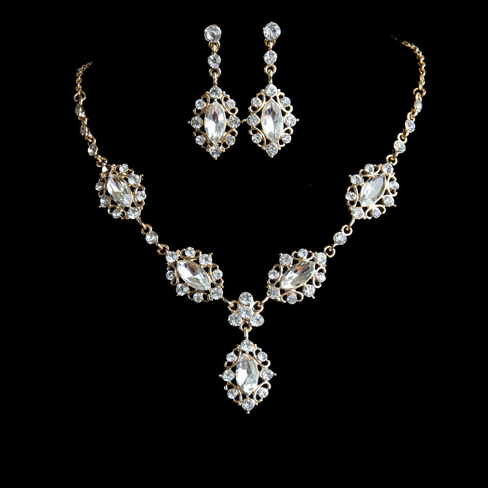 0e318bbed Rose Gold Vintage Navette Shape Bridal Jewelry Set, Necklace and Earrings.  Belle Bridal Jewellery, wholesales and bespoke bridal couture, bridal  headpieces ...