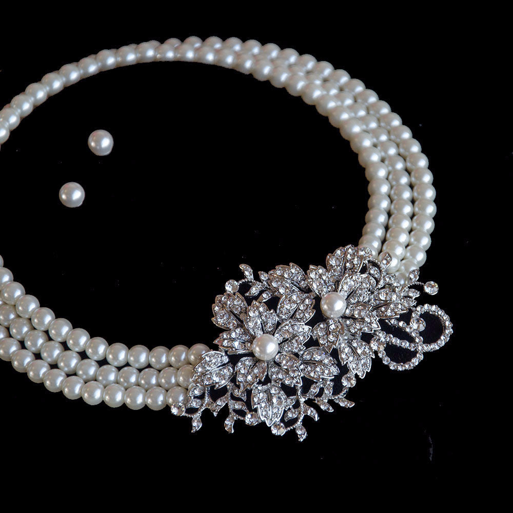 pearl bridal jewellery set necklace and earrings wedding jewelry sets Vintage 3 Row Pearl Bridal Jewellery Set necklace and earrings Bridal Bridesmaids